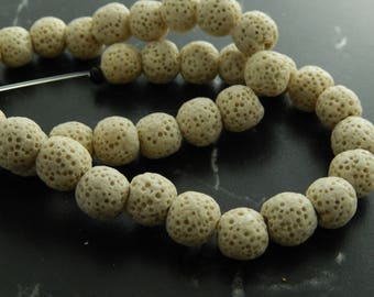 Beige natural lava beads 10mm, set of 10