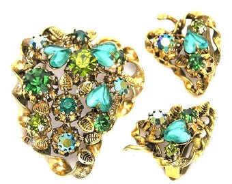 Made in Austria Green Glass Hearts Brooch and Earrings Set