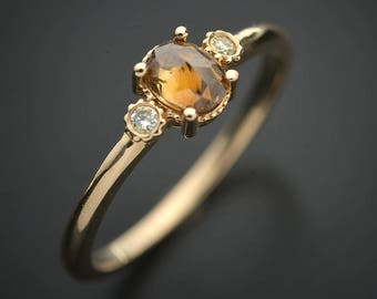 Natural champagne Rose Cut diamond Solitaire with 2 light yellow diamonds ring 14kt yellow gold