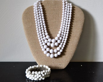 RETRO WHITE Layered Necklace and Cha Cha Bracelet 1950s