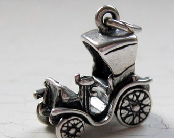 Sterling Steam Buggy Charm Car Vintage Model T Silver Pendant