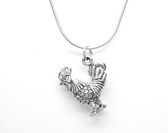 Rooster Sterling Silver Farm Animal Charm Pendant Customize no. 1872