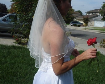 Elbow Length Two Tier Circular Cut Veil With Serged Pencil Edge in Ivory or White - READY TO SHIP in 3-5 Days