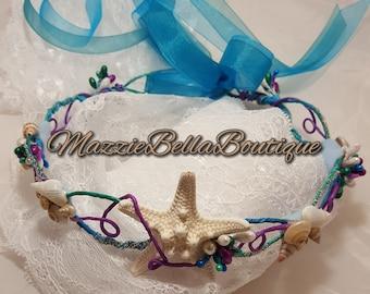 Girls Mermaid Seashell Crown~Custom Colors~Mermaid Starfish Halo~Girls Seashell Halo Crown~Toddler Mermaid Crown Halo~Beach Baby Photo Prop