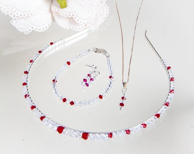 Crystal set, headband, Bridesmaids or flower girl, necklace pendant & earrings, Flowergirl, prom, Sterling Silver Swarovski Crystal Pendant,