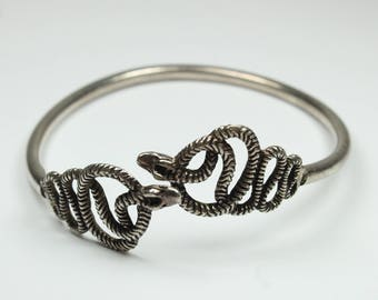 Boho Style Sterling Silver Serpent Bangle