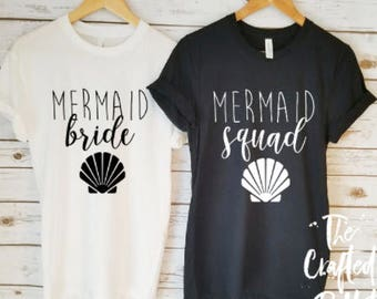 Mermaid Squad Shirts / Mermaid Bride Shirts / Mermaid Bachelorette / Bachelorette Shirts / Bridal Party Shirts / Beach Bachelorette