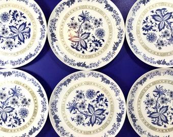 Vintage Melmac Plates Set of Six Floral Blue Tan Bohemian Dinner Ware Mar Crest Sun Valley Chicago USA