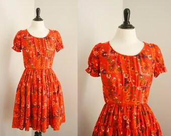 vintage square dance dress   1970s print dress