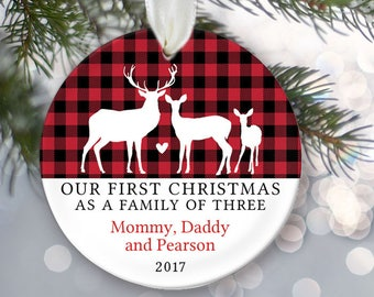 Deer Family of 3 Personalized Christmas Ornaments - Family of three Deer Ornament - Farmhouse Christmas Plaid Buffalo Check OR843