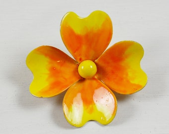 Vintage Yellow and Orange Blossom Flower Brooch