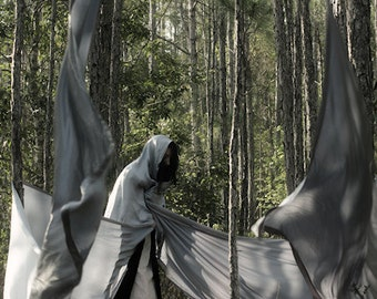 Out For a Hunt - FREE SHIPPING Surreal Photo Print Dark Art Nature Woods Trees Blue Long Fabric Creepy Cloak Wrapped Floating Magic Wizard