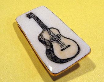 Guitar Pin Brooch Handmade Porcelain Ceramic Jewelry