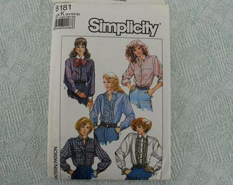 Simplicity Sewing Pattern 8181 shirt blouse from 1987 size 8 10 12