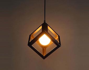 Iron Cube Pendant Light Stylish Chandelier Hanging cube Industrial Chandelier Pendant light Modern lighting Kitchen Chandelier