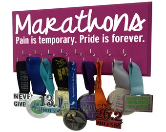 Marathon medal display - 26.2 miles of running - gifts for marathon runners - women running - Marathons pain is temporary, pride is for ever
