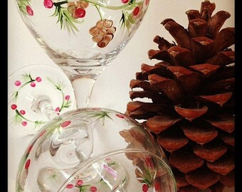 Pine cone hand painted wine glasses.  Set of 2.