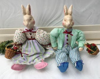 Vintage Easter Bunny Couple