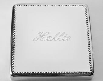 Custom Engraved Personalized Silver Square Jewelry Box with Beaded Trim - Hand Engraved
