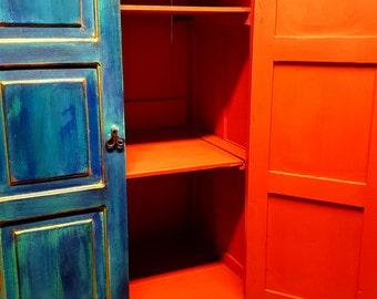 Reclaimed Armoire - Blue Tones, Red Interior