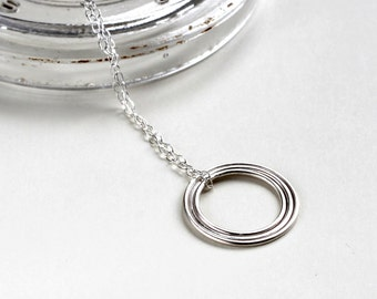 Concentric Circle Long Necklace - Sterling Silver Circle Necklace | dainty silver necklace | long necklace | mother's day