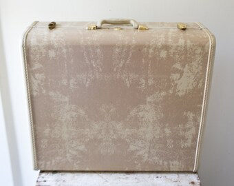 Vintage Samsonite Luggage Suitcase Green Gray Grey Large Travel Samonsite Luggage with Hangers Tan Marbled Hard Case