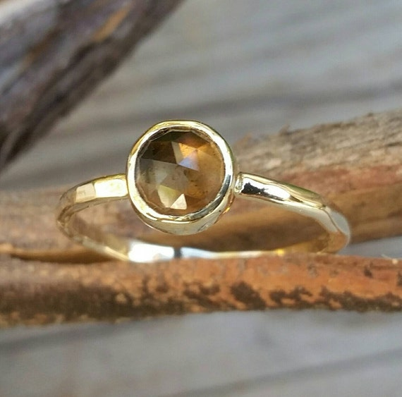 Smokey Quartz 14k Gold Stacking Ring, Smoky Quartz Chocolate Brown Gemstone, Gold Wedding Or Engagement Or Birthstone Jewelry, Minimalist