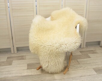 Luxury genuine Swedish single sheepskin rug, natural cream color, #466 CURLY