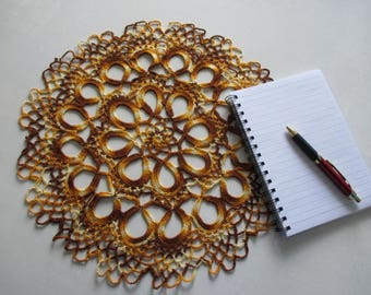 Crochet tablecloth yellow and brown