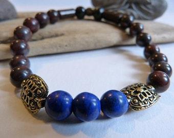 Men's bracelet or mixed ethnic and Celtic lava and lapis lazuli stone