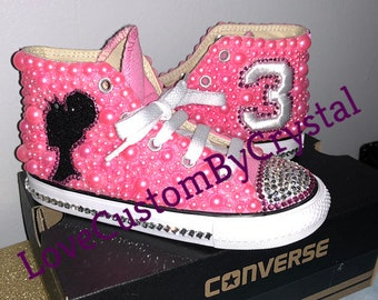 Children's bedazzled converse sneakers