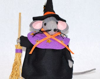 """Hand crafted 6"""" Halloween felt Witch Mouse with broom tree ornament"""