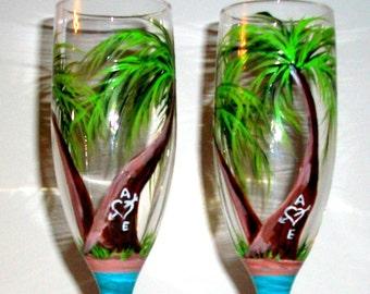 Palm Trees Hand Painted Champagne Flutes Beach Wedding Beach, Wedding Glasses Set of 2 / 6 oz Personalized Toasting Flutes Wedding Flutes