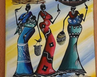 African painting Women in Malawi, Africa; mother and child, baby