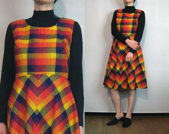 SALE 60s PLAID Wool Dress / Vintage 1960s Mod Plaid Dress / Yellow Red Orange Blue Plaid Dress