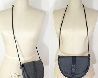 80s Liz Claiborne Dark Gray Logo Print Crossbody Bag Purse, Small Size