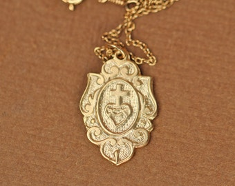 Sacred heart necklace - religous necklace - virgin mary - cross necklace - a 22k gold vermeil catholic crest on a 14k gold vermeil chain