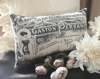 French corset advertisement pillow, French home decor, French pillow