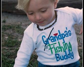 Boys Fishing Buddy Bodysuit or Shirt, Grandpa's Fishing Buddy, Grandpa's Boy, Embroidered Applique Bodysuit or Shirt