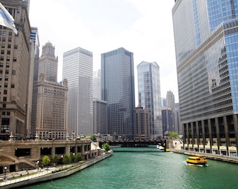 Fine art-Downtown Chicago- Architecture-River-Home Decor-Cityscape-