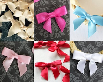 24 Mini Pre-made Bows - Choose your color - Ready for crafting