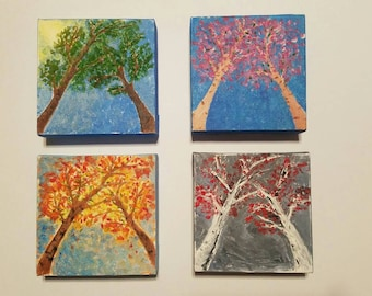 Changing Seasons, set of 4, 6x6 on canvas, acrylic, original