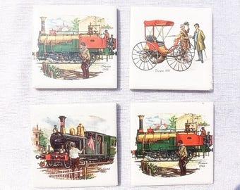 4 Miniature Tiles Train Tiles Oldtimer Car Tile Vintage Trains Vintage Cars 4 Small Tiles