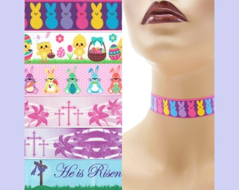 Custom Easter Choker 7/8 inch wide necklace Bunnies Peeps Chicks Eggs Bunny Ears Lilies Crosses He Is Risen ( 22 - 23 mm width) Your Size +