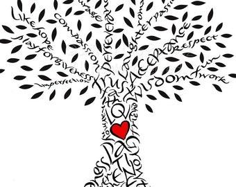 Handlettered Liebe Baum mit roten Herzen