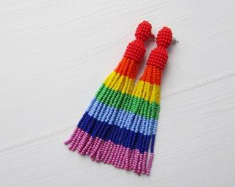 Rainbow earrings Chakra earrings Beaded tassel earrings Rainbow tassel earrings Colorful earrings Oscar tassel earrings Long fringe earrings