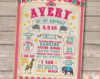 Circus First Birthday Poster. Circus Birthday Poster. Circus First Birthday. First Birthday Poster. Pink Circus Party. Circus Birthday. Pink