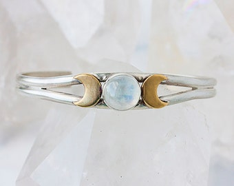 Triple Goddess Cuff,  Goddess Jewelry, Moon Phase Jewelry, Moon Cuff, Moon Phase, Goddess Cuff, Moonstone Cuff, Moonstone Jewelry, Cat's Eye
