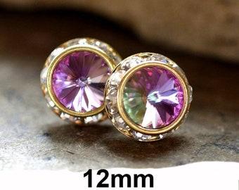 12mm Vitrail Light & Gold Surrounds Rhinestone Stud Earrings, Vitrail Light Crystal Studs, Large Color Changing Stud Earrings