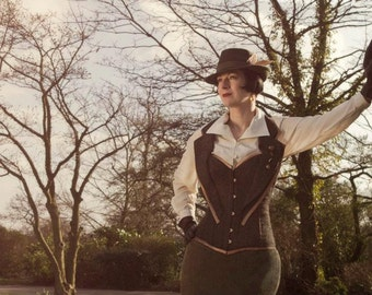 Steampunk Tweed corset. Recycled tweed. Couture / costume/ Doctor Who. Made to Measure